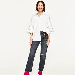 Zara white button up with tiered sleeves